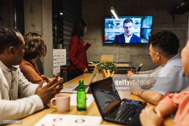 videoconferencing is a solution for remote teams - hub stock pictures, royalty-free photos & images