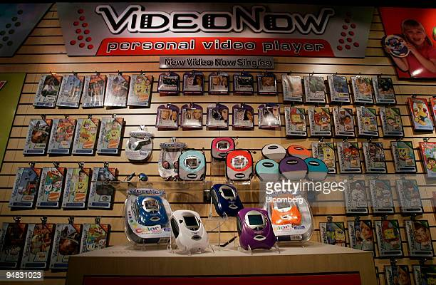 VideoNow personal portable video players sit on display in the Hasbro showroom during the American International Toy Fair in New York on February 18...