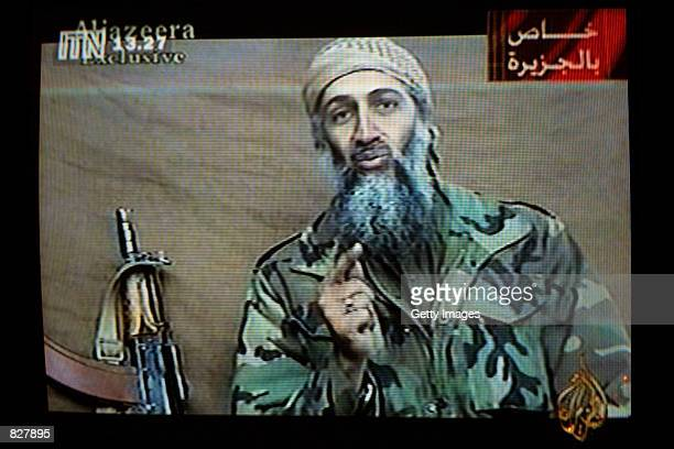A videotape released by AlJazeera TV featuring Osama Bin Laden is broadcast in Britain December 27 2001 The tape estimated to have been recorded two...