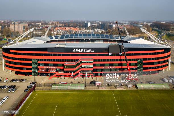 Videowall AZ Alkmaar billboard logo during the Videowall AZ Alkmaar at the AFAS Stadium on February 21 2018 in Alkmaar Netherlands