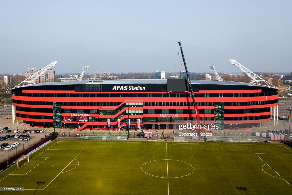 Videowall AZ Alkmaar, billboard, logo during the Videowall AZ Alkmaar at the AFAS Stadium on February 21, 2018 in Alkmaar Netherlands