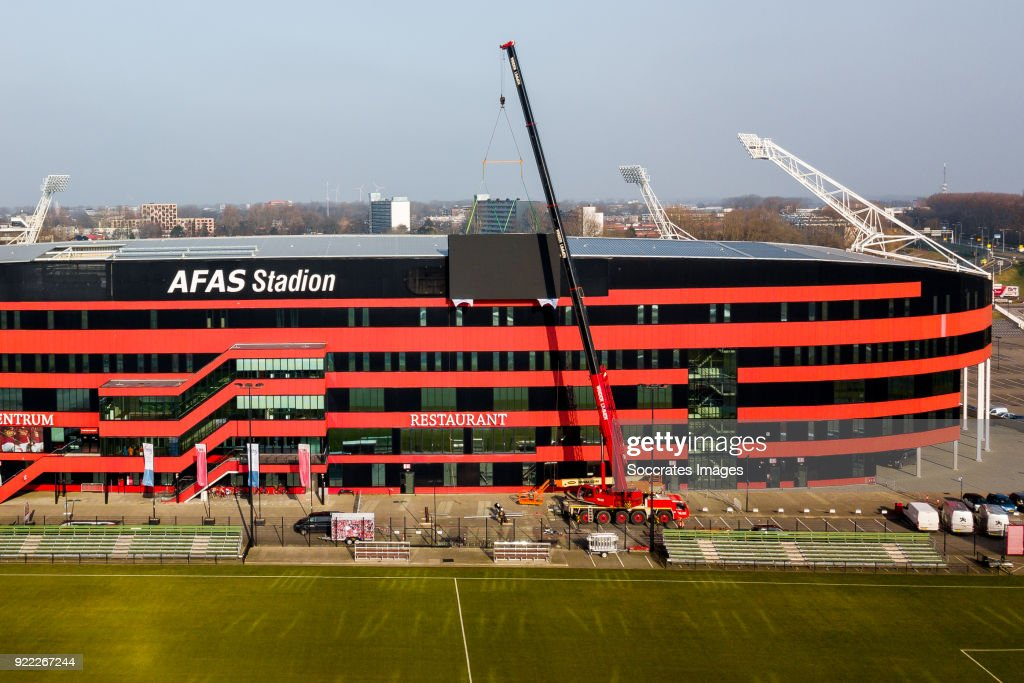Videowall AZ Alkmaar, billboard, logo during the Videowall AZ Alkmaar at the AFAS Stadium on February 21, 2018 in Alkmaar Netherlands