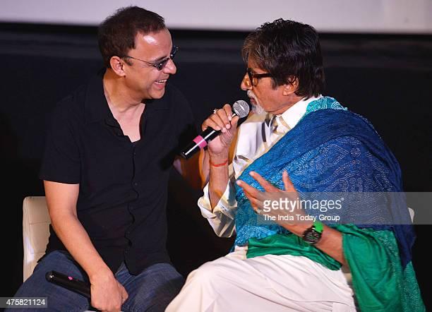 Vidhu Vinod Chopra and Amitabh Bachchan at the teaser launch of the movie Wazir in Mumbai