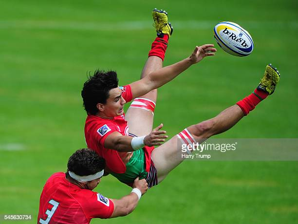 Vidinha Antonio of Portugal challenges for the aerial ball during Day One of the 2016 Rugby Europe Men's Sevens Championships at Sandy Park on July 9...