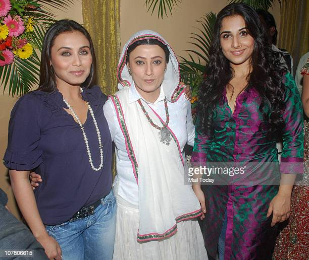 Vidya Balan and Rani Mukherjee with Meghna Malik at a promotional event for the film No One Killed Jessica in Mumbai on December 28 2010