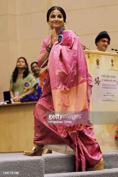 Vidya Balan going to receive the best actress award for 2011 at 59th National Film award from Vice President Hamid Ansari during a function at Vigyan...