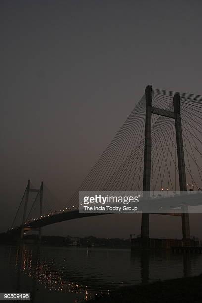 Vidyasagar Setu as the Second Howrah Bridge or Second Hooghly Bridge on Hoogly River in Kolkata West Bengal India