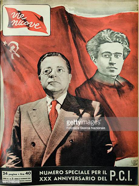 Vie Nuove cover of the weekly magazine linked to the Italian Communist Party and founded in 1946 by Luigi Longo In the allegorical image Palmiro...