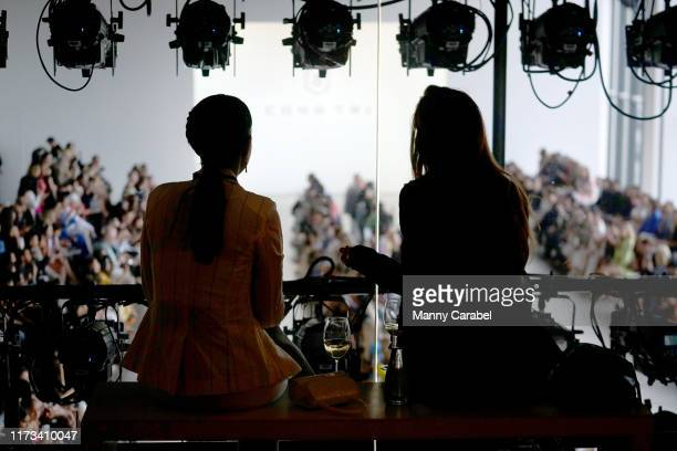 Vie of guests relaxing in the Skybox Lounge above Gallery II at Spring Studios during New York Fashion Week: The Shows on September 09, 2019 in New...