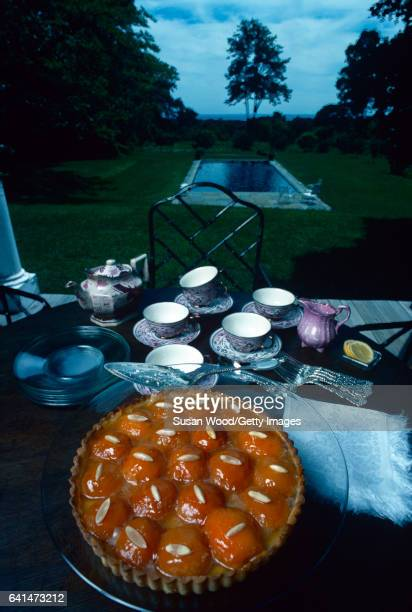 Vied of an apricot almond tart on an outdoor table on the grounds of Martha Stewart's home Westport Connecticut August 1976