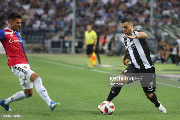 Vieirinha of PAOK controls the ball during Champions League second qualifying round first leg football match between PAOK FC and FC Basel at the...