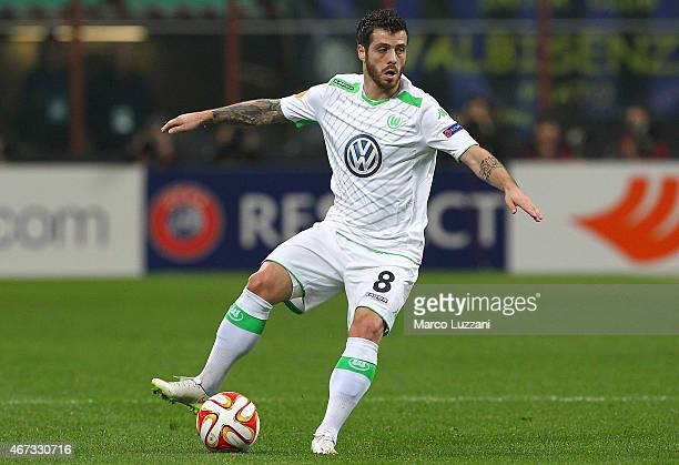 Vieirinha of VfL Wolfsburg in action during the UEFA Europa League Round of 16 match between FC Internazionale Milano and VfL Wolfsburg at Stadio...
