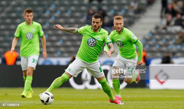 Vieirinha of VfL Wolfsburg runs with the ball during the Bundesliga match between Hertha BSC and VfL Wolfsburg at Olympiastadion on April 22 2017 in...