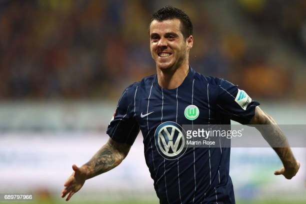 Vieirinha of Wolfsburg celebrates his team's first goal during the Bundesliga Playoff leg 2 match between Eintracht Braunschweig and VfL Wolfsburg at...