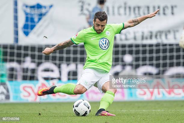 Vieirinha of Wolfsburg controls the ball during the Bundesliga match between TSG 1899 Hoffenheim and VfL Wolfsburg at Wirsol RheinNeckarArena on...