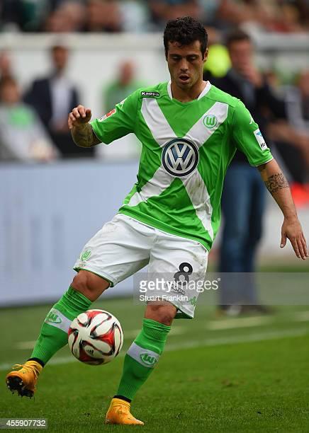 Vieirinha of Wolfsburg in action during the Bundesliga match between VfL Wolfsburg and Bayer 04 Leverkusen at Volkswagen Arena on September 21 2014...