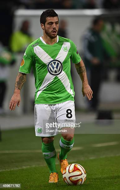 Vieirinha of Wolfsburg in action during the UEFA Europa League match between VfL Wolfsburg and Everton FC at the Volkswagen Arena on November 27 2014...
