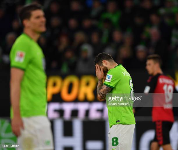 Vieirinha of Wolfsburg looks dejected during the Bundesliga match between VfL Wolfsburg and SC Freiburg at Volkswagen Arena on April 5 2017 in...