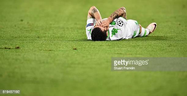 Vieirinha of Wolfsburg reatcs during the UEFA Champions League Quarter Final First Leg match between VfL Wolfsburg and Real Madrid at Volkswagen...