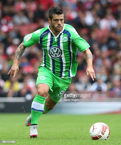 Vieirinha of Wolfsburg runs with the ball during the Emirates Cup match between Arsenal and VfL Wolfsburg at the Emirates Stadium on July 26 2015 in...