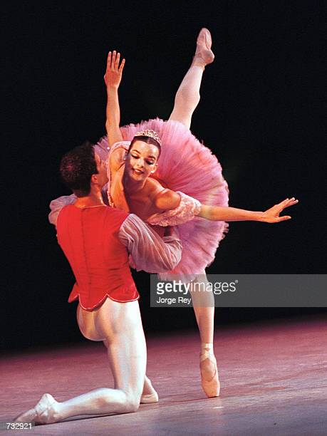 Viengsay Valdes and Nelson Madrigal dance during the 17th Havana International Festival of Ballet October 20 2000 at the Grand Theatre in Havana Cuba