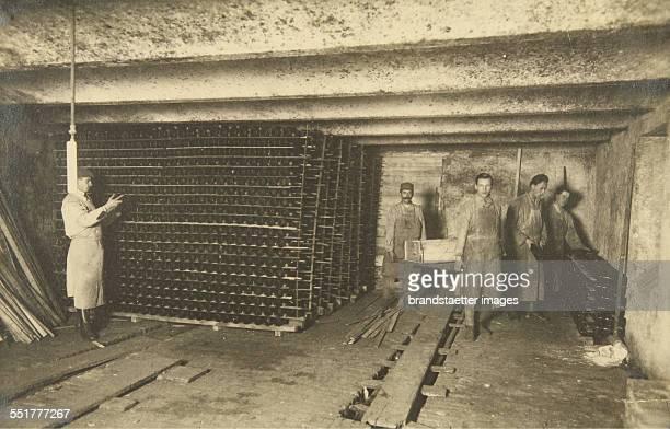 Vienna 19. Wine cellar of wine saler Franz Leibenfrost / August Schneider in Heiligenstädter Straße 41-43. About 1925. Photograph.
