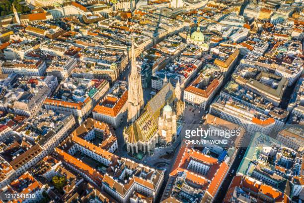 vienna aerial view in austria is one of the most famous capital cities of europe - vienna austria stock pictures, royalty-free photos & images