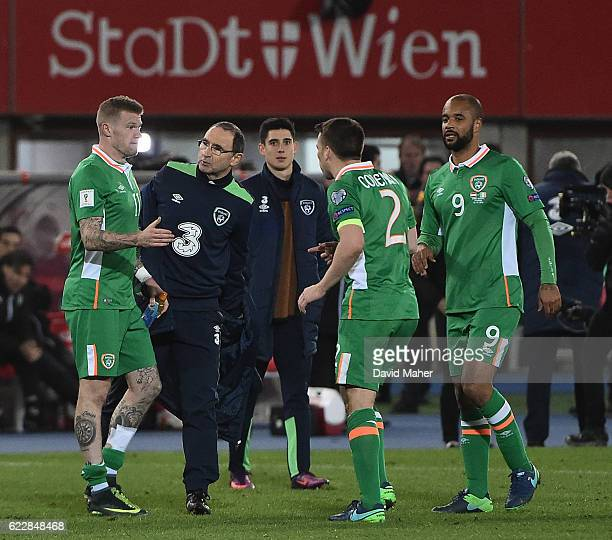 Vienna Austria 12 November 2016 Republic of Ireland manager Martin O'Neill celebrates with James McClean after the FIFA World Cup Group D Qualifier...