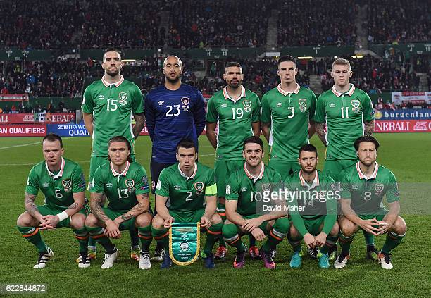 Vienna Austria 12 November 2016 Republic of Ireland team back row from left to right Shane Duffy Darren Randolph Jonathan Walters Ciaran Clark and...
