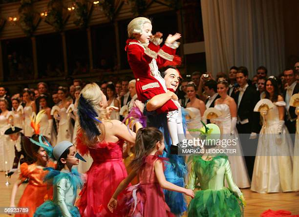 Dancers and a junior Amadeus Wolfgang Mozart inaugurate the annual Opera Ball in Vienna 23 February 2006