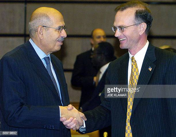 Nuclear watchdog director-general of International Atomic Energy Agency Mohamed ElBaradei receives congratulations from US Ambassador to the IAEA...