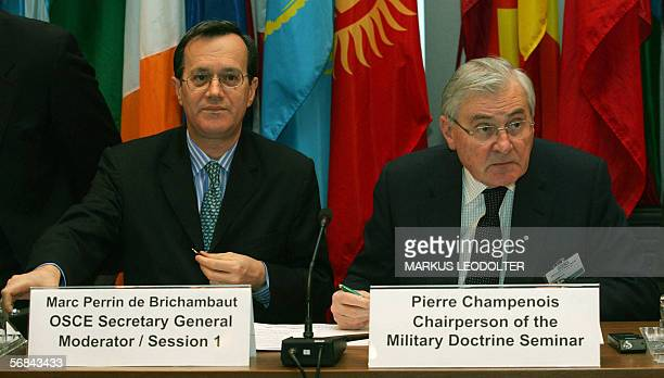 Organization for Security and Cooperation in Europe SecretaryGeneral Marc Perrin de Brichambaut and seminar chairperson Pierre Champenois open the...