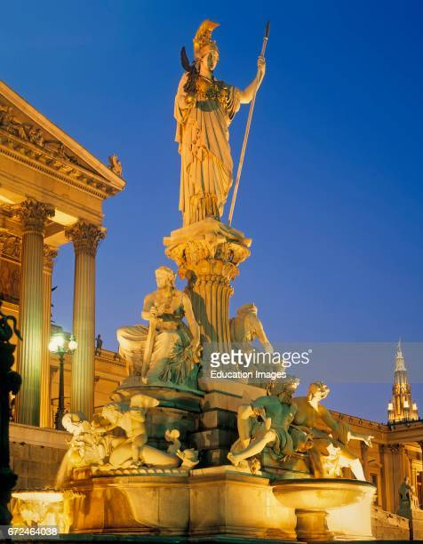 Vienna Austria The Athena Fountain PallasAtheneBrunnen in front of Austrian Parliament building The fountain was created 18931902 by sculptors Carl...