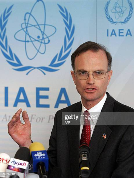 International Atomic Energy Agency Ambassador Gregory Schulte talks to the media 04 February 2006, after the UN atomic agency decided to send Iran to...