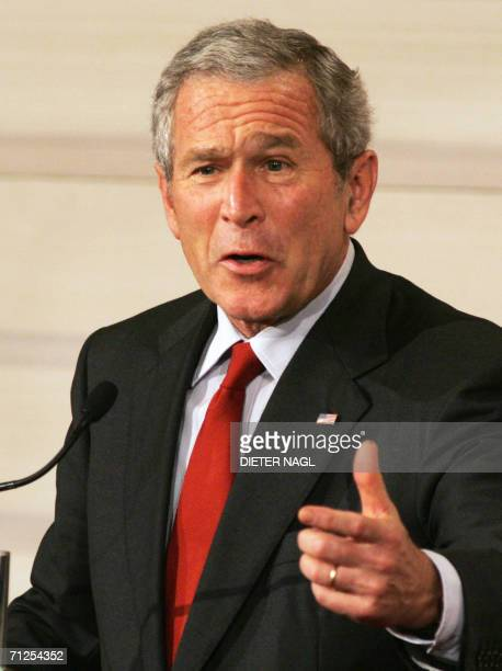 President George W. Bush gives a speech during a joint press conference with Austrian Chancellor Wolfgang Schuessel and European Commission President...