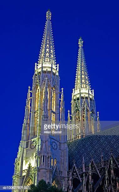Vienna, Austria, Votivkirche spires, rear view, low angle view