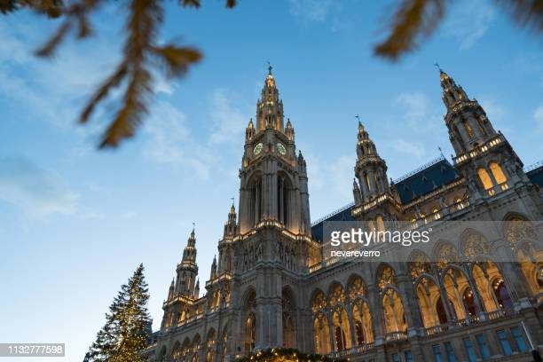 vienna city hall at night in christmas - gothic stock pictures, royalty-free photos & images