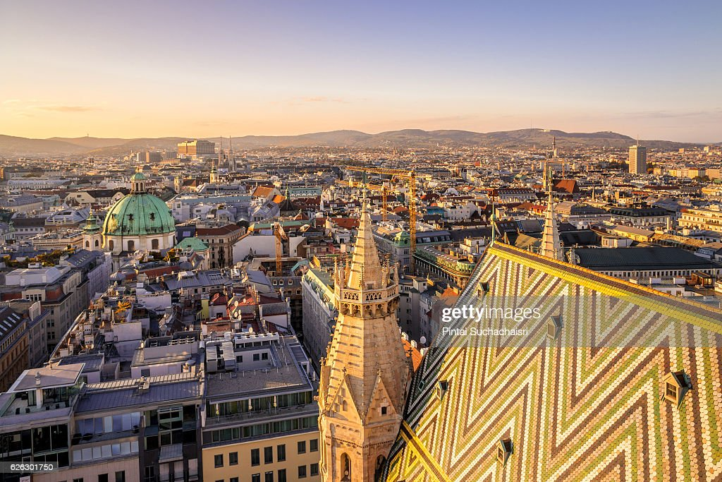 Vienna City View at Twilight from St Stephen's Cathedral : Stock Photo