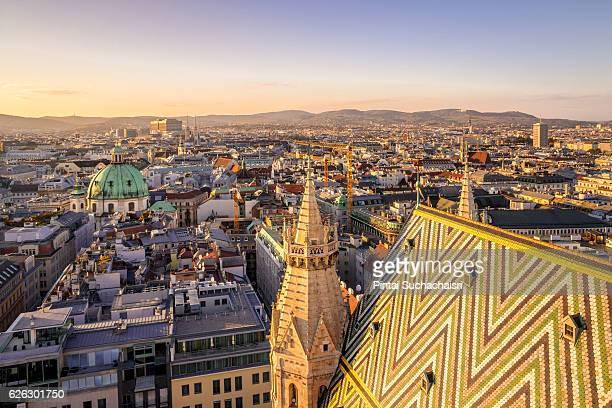 vienna city view at twilight from st stephen's cathedral - オーストリア ストックフォトと画像