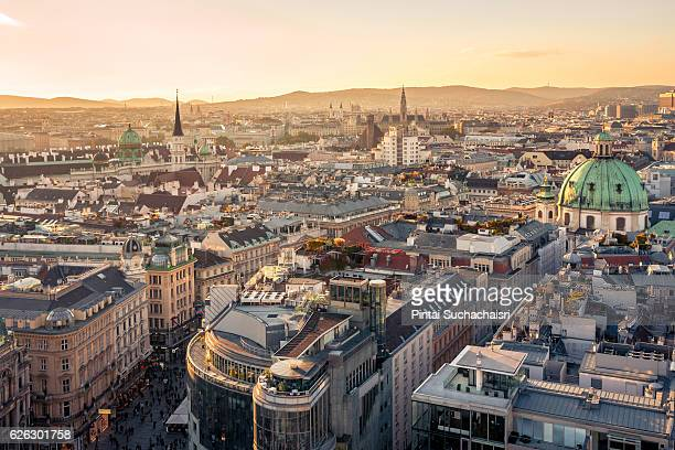 Vienna City View at Twilight from St Stephen's Cathedral