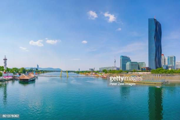 Vienna cityscape: the Danube, to the left the Donauinsel, to the right the modern buildings of the Vienna International Centre