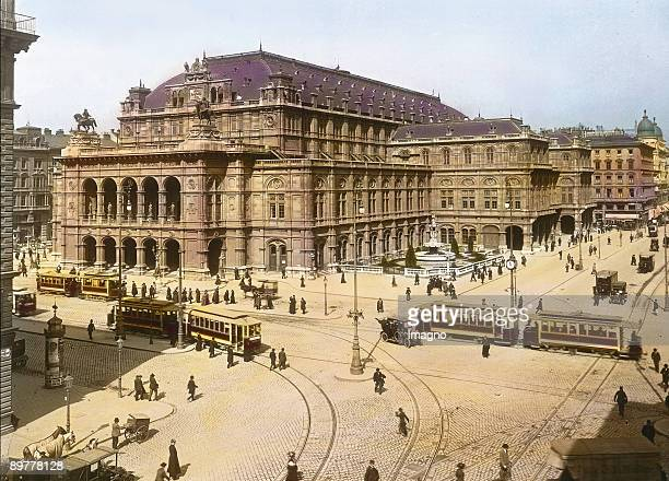 Vienna Court Opera House Vienna first district Handcolored lantern slide Around 1910