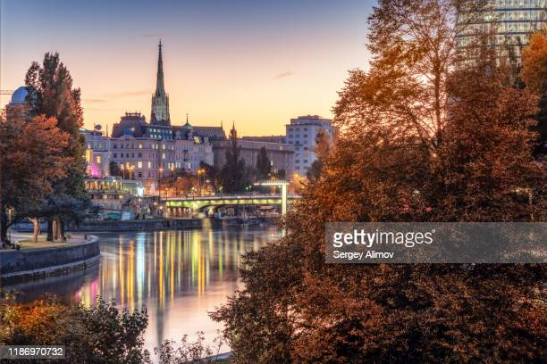 vienna evening cityscape - vienna austria stock pictures, royalty-free photos & images
