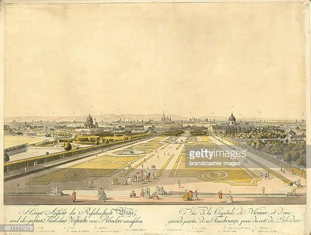 Vienna from the Belvedere Coloured etching by Carl Schütz 1784