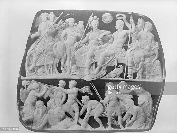 Gemma Augustea Augustus with Goddess Roma receiving Tiberius Below Erection of a Trophy besides Barbarian prisoners Carving BPA2# 4206
