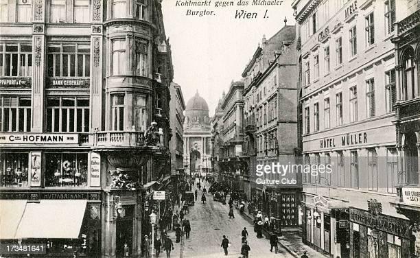 Kohlmarkt with Michaelerkirche in background Austria 1922