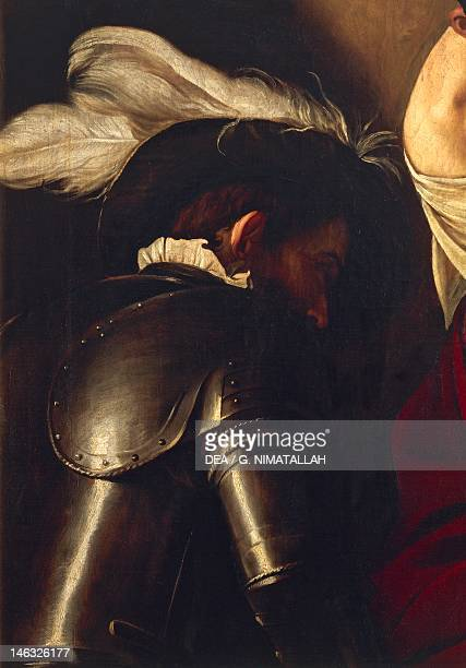 Vienna Kunsthistorisches Museum Man in armor detail from the Crowning with Thorns ca 1603 by Michelangelo Merisi da Caravaggio oil on canvas 127x165...
