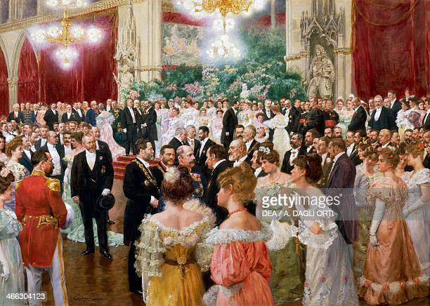 Vienna Municipal Ball painting by Wilhelm Gause watercolour and oil on cardboard 62x88 cm