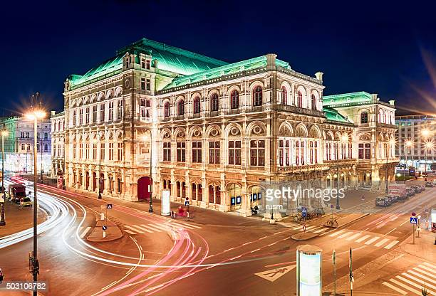 vienna opera at night, austria - vienna state opera stock pictures, royalty-free photos & images