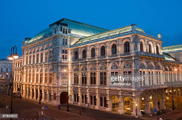 vienna opera by night - vienna state opera stock pictures, royalty-free photos & images
